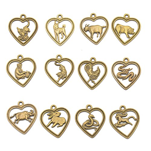 Flameer 12Pcs Antique Bronze Chinese Zodiac Horoscope Mixed Animals Charms Pendant