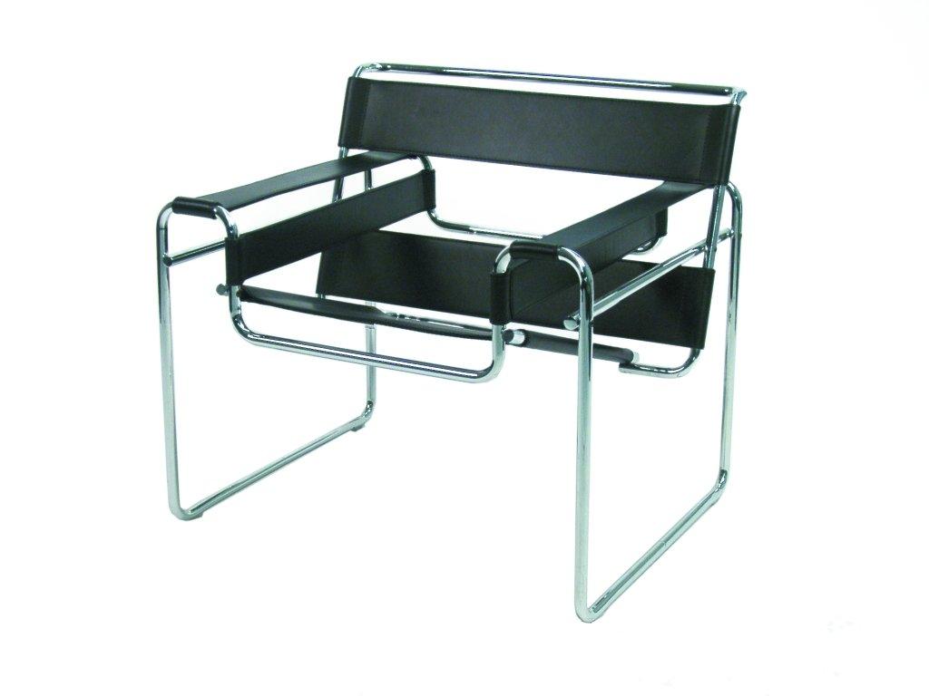 freischwinger leder mit armlehne der klassiker wassily von marcel breuer ist heute als nachbau. Black Bedroom Furniture Sets. Home Design Ideas