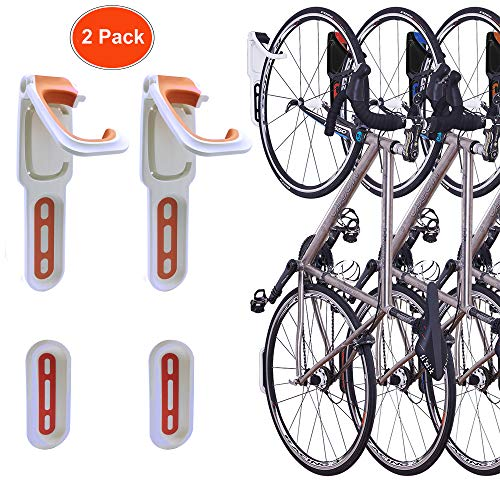 - Reliancer 4 Color Foldable Vertical Bike Rack Wall Mounted Bicycle Cycle Storage Rack Single Bike Hook Wall Bike Hanger Holder w/Tire Tray for Garage Shed Retail Applications (2 Pack Orange&White)