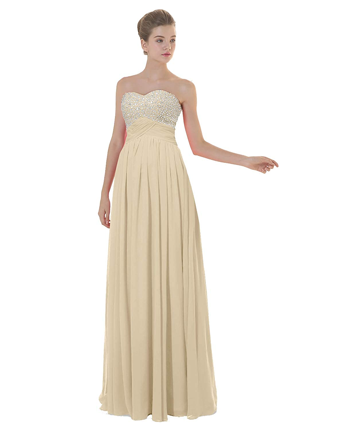 Champagne ANGELWARDROBE Empire Beaded Sweetheart Neck Prom Gowns Long Evening Dresses Party Skirts