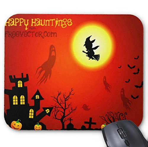 Gaming Mouse Pad Halloween Witch Design Desktop and Laptop 1 Pack 22x18cm/7x8.66inch