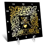 3dRose Russ Billington Designs - Gold Effect Text and Frame- You are The Best- not Actual Gold foil - 6x6 Desk Clock (dc_291592_1)