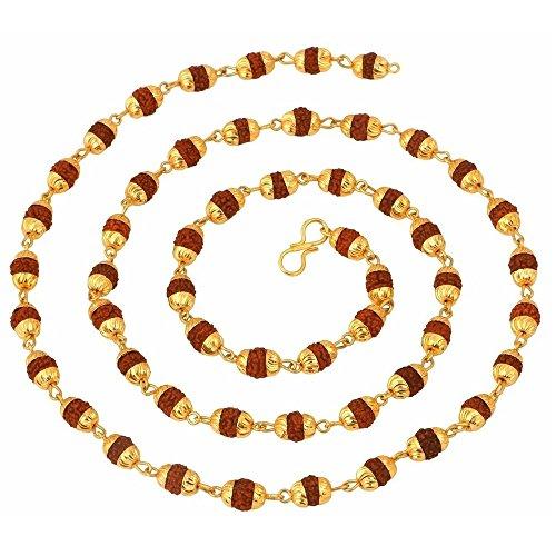 Mahi Gold Plated Rudraksh Mala Chain 24 inches Long for Men CN1100216G