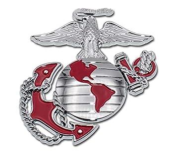 Elektroplate Marines Premium Anchor Red Chrome Auto Emblem