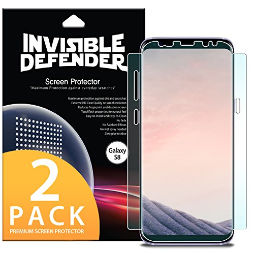 Ringke Screen Protector Compatible with Galaxy S8 Invisible Defender [Full Coverage][Updated Version] Flexible Edge to Edge Wing Coverage [Case Friendly] HD Clear Film for Samsung Galaxy S8