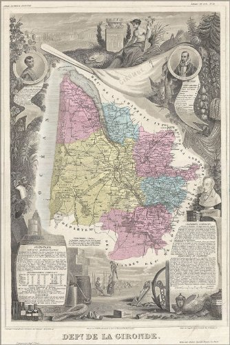 (24x36 Poster 1861 Map of Bordeaux Wine Region, France (reproduction))
