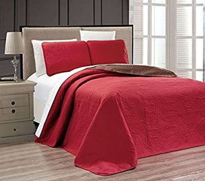 Embossed Medallion Reversible Bedspread/Quilt Set