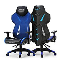Gaming Chair, AutoFull Video Game Chair, Breathable Mesh Back Reclining Gaming Chair for Adults With Pillow and Lumbar Cushion