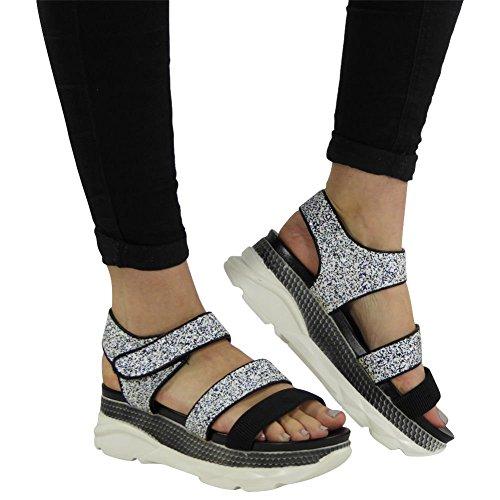 Womens Ladies Platform Velcro Glitter Comfy Mid Heel Wedge Shoes Sandals Size 3-8 Black Glitter YmnVRPb7