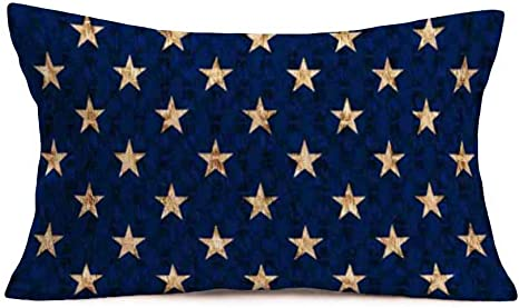 Hopyeer Navy Blue Style Stars Throw Pillow Cover Abstract Usa Star Design On The Blue Background Decorative Cotton Linen Burlap Pillow Cases For Home Sofa Couch Room Cushion Cover 12 X20 Nb Stars Home
