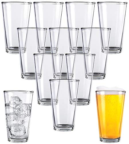 Clear Glass Beer Cups - 12 Pack - All Purpose Drinking Tumblers, 16 oz - Elegant Design for Home and Kitchen - Lead and BPA Free, Great for Restaurants, Bars, Parties - by Kitchen Lux