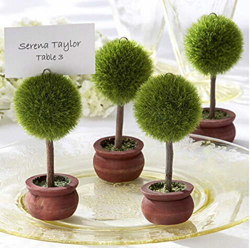 YARBAR 4PCS Round Shaped Tree Topiary Place Card Holder Table Decoration Wedding (Topiary Card)