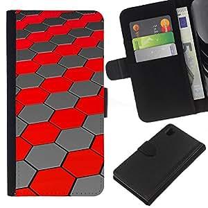 KingStore / Leather Etui en cuir / Sony Xperia Z1 L39 / Polígono colmena hexágono rojo Líneas futuristas