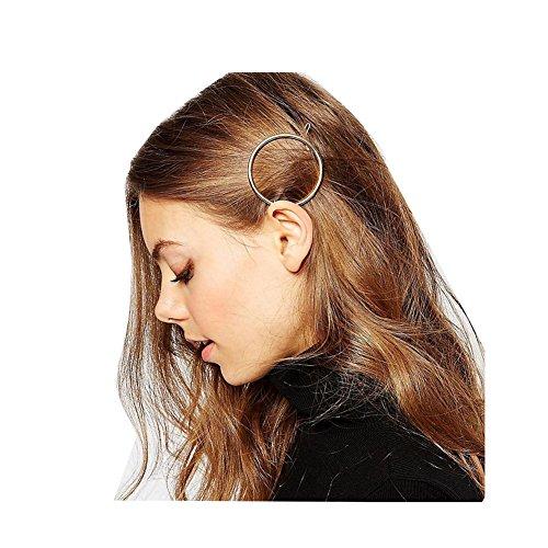Fashion Women Girls Gold/Silver Plated Metal Round Bar Hair Clips Metal Circle Hairpins Holder Hair Accessories (silver)