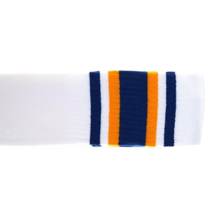 Choobes (Unisex 30 pulgadas sobre los calcetines blancos del tubo de la rodilla con el azul real/las rayas del oro: Amazon.es: Ropa y accesorios