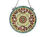 Stained Glass Lighting Victorian Window Panel 24'' Diameter Handcrafted