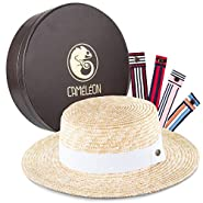 ARTAGIA CAMÉLÉON Womens Straw Hat: Wide Brim Sunhat with 5 Interchangeable Colored Bands