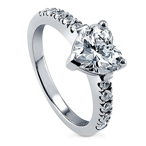 BERRICLE Rhodium Plated Sterling Silver Cubic Zirconia CZ Solitaire Heart Promise Engagement Ring 2 CTW Size 7 (Heart Shaped Engagement Rings)