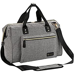 Diaper Bag, RUVALINO Large Diaper Tote Stylish for Mom and Dad Convertible Travel Baby Bag for Boys and Girls with…