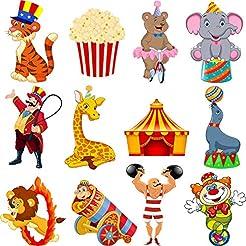 Zonon 24 Pieces Carnival Cutouts Party S...