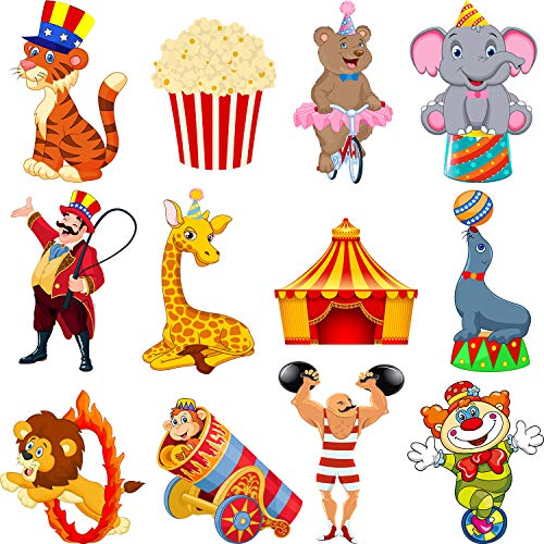 Zonon 24 Pieces Carnival Cutouts Party Supplies, Circus Theme Birthday Party Favors Circus Animals, Clown Performers Carnival Party Decoration -