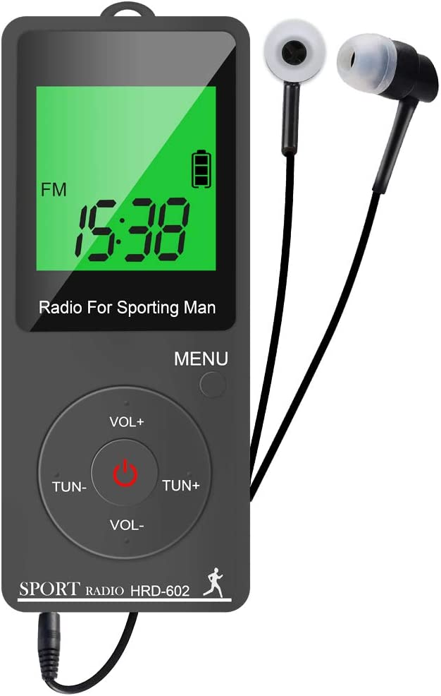 Radio de bolsillo Digital, Am FM Radio Pequeñas Portatil Recargables USB Radios con Auriculares, Podómetro, Temporizador de sueño y Reloj, Auto-búsqueda y Memorización, para caminar, trotar, deportiva