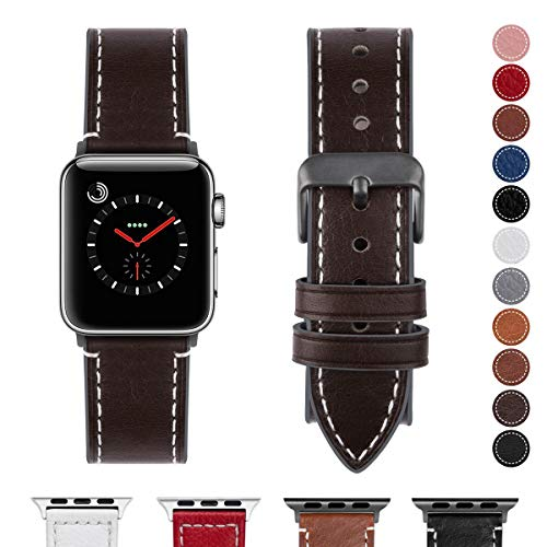 Fullmosa Compatible Apple Watch Band 38mm 40mm 42mm 44mm Genuine Leather iWatch Bands, 42mm 44mm Coffee + Smoky Grey Buckle