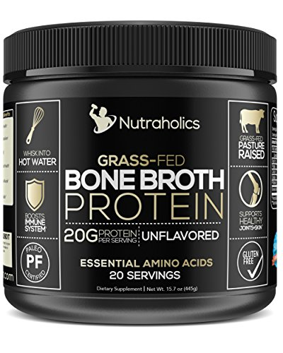 Bone Broth Protein Powder, Bovine Grass Fed Dietary Supplement, Certified Paleo and Keto Friendly | 20 Grams of Protein | Natural Flavor