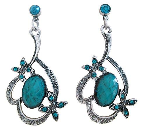 DaisyJewel Aqua Art Nouveau Flower Dangle Earrings