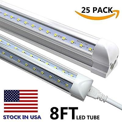 V Shape Integrated LED Tube Light,8 Foot LED Linkable Shop Lights 72W 7200LM, AC85-277V, SMD2835 Clear Cover, Cool White 6000K, LED Cooler Door Lights 25 Pack