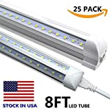 V Shape Integrated LED Tube Light,8 Foot LED Linkable Shop Lights 72W 72000LM, AC85-277V, SMD2835 Clear Cover, Cool White 6000K, LED Cooler Door Lights 25 Pack