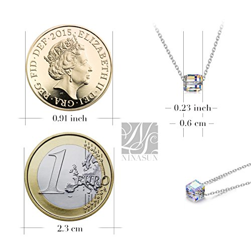 """NINASUN """"Beautiful Life"""" 925 Sterling Silver Cube Pendant Necklace Made with Crystal From Swarovski"""