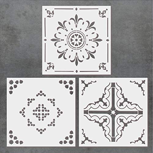 - CODOHI 3 Packs Tile Stencils (12x12 Inch) Laser Cut Resuable Money Saving Painting Template for Wall Floor Fabric Wood - DIY Moroccan Patterns