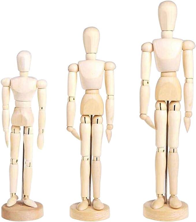 dibujo hecha a mano Mu/ñeca unisex artista modelo juguetes para ni/ños con cabeza de bloque de dibujos animados marioneta de madera bosquejo decoraci/ón de casa pintura figuras,8inch