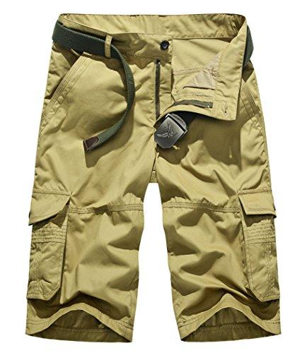 Lega Mens Summer Multi Pocket Pants Cotton Cargo Shorts
