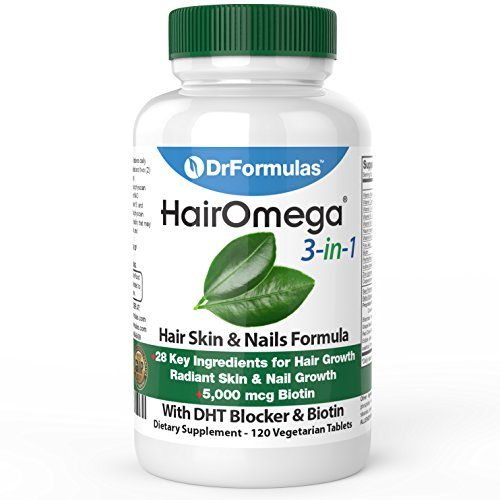DrFormulas HairOmega 3-in-1 Hair Growth Vitamins with DHT Blocker, Biotin for Women & Men | Hair Skin and Nails Supplement for Hair Loss, 120 Pills