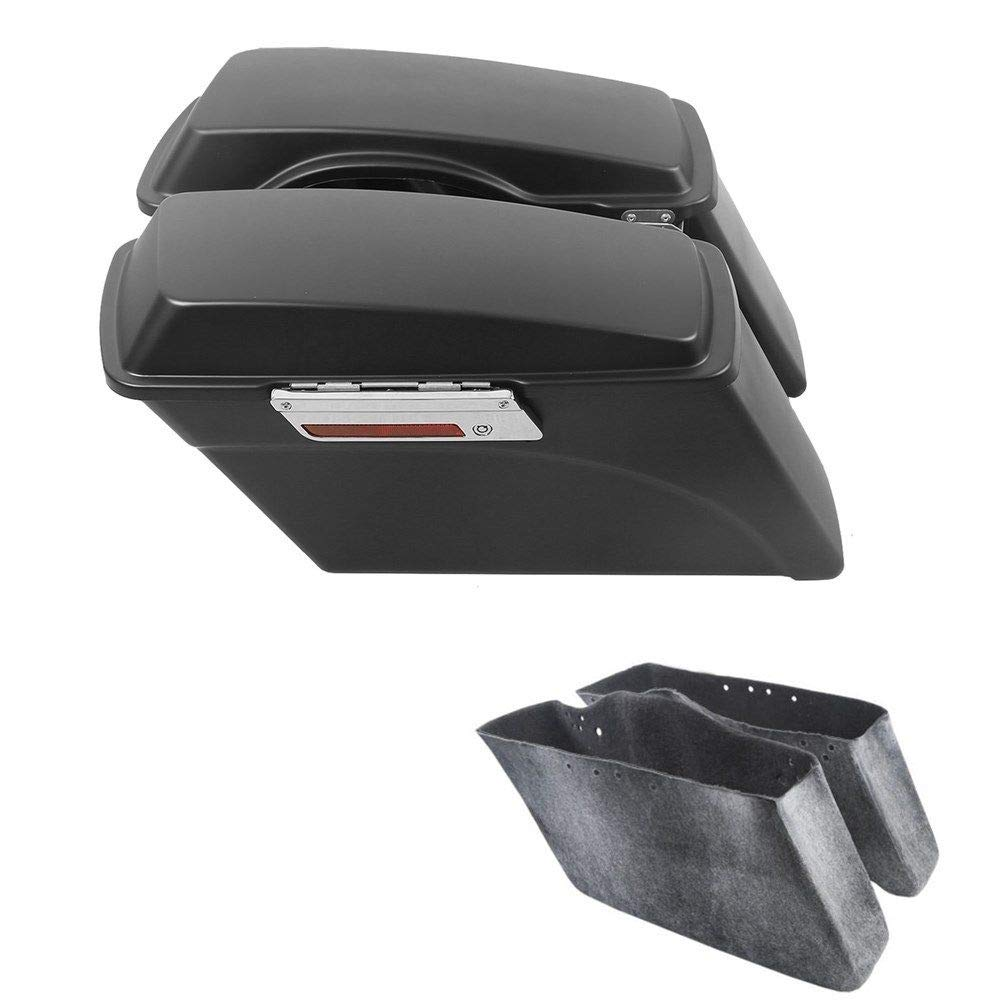 TCMT Matte Black Saddlebags w/Lid Latch Fits for Harley Road Glide Road King 1994-2013