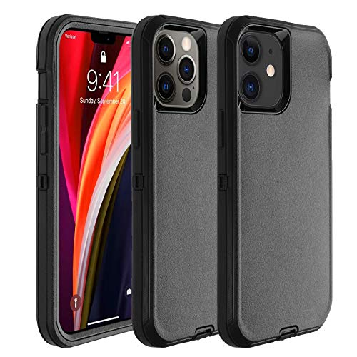 Co-Goldguard Phone Case Compatible with iPhone 12,Compatible with iPhone 12 Pro,Drop Protection Heavy Duty Hard 3 Layer Hybrid Strong Shockproof Drop-Proof Covers Strong Durable Shell,Black