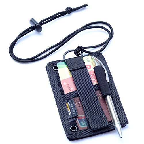 Tactical ID Card Holder Hook & Loop Patch Badge Holder Neck Lanyard Key Ring and Credit Card Organizer (Black)
