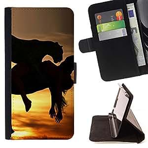 BullDog Case - FOR/Sony Xperia Z3 D6603 / - / mustang galloping horses sunset stallion /- Monedero de cuero de la PU Llevar cubierta de la caja con el ID Credit Card Slots Flip funda de cuer