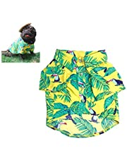 Meioro Pet Clothes Dog Clothes Comfortable Dog Shirt Hawaiian Style Seaside Resort Style Cotton Material Puppy French Bulldog Pug (Yellow-L)