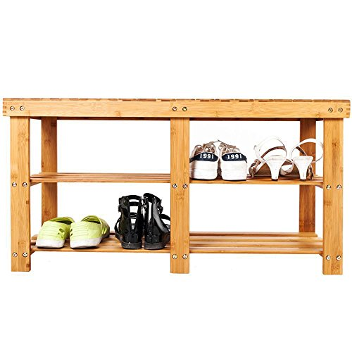 Bonnlo 3-Tier Bamboo Shoe Bench, Shoe Organizer, Storage Shelf Holds Up to 330 Lbs, ideal for Entryway Hallway Bathroom Living Room and Corridor (Natural Storage All Bench Wooden)