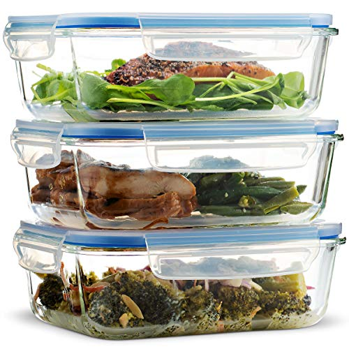 Superior Glass Meal Prep Containers - 3-pack BPA-free Airtight Food Storage Containers with 100% Leak Proof Locking Lids, Freezer to Oven Safe Great on-the-go Portion Control Lunch (28 ()