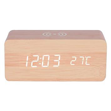 Haofy Reloj Digital Despertador de Madera LED con Control de Sonido con Carga Inalámbrica(Luz Blanco): Amazon.es: Hogar