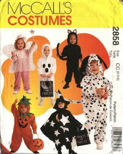 McCall's Sewing Pattern 2858 Boys Girls Size 2-4 Halloween Costumes Fairy Pumpkin Cat Dog Ghost -
