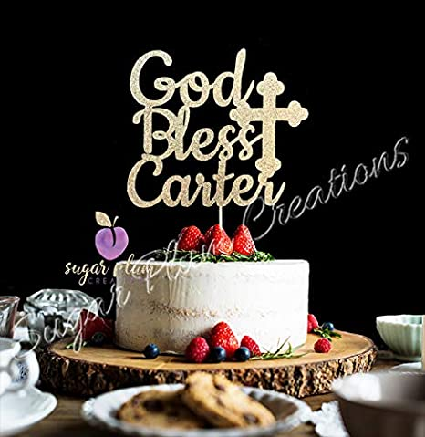 Custom Personalized Baptism Cake Topper Custom God Bless Cake Topper God Bless Cake Topper Christening Cake Topper Glitter Cake Topper