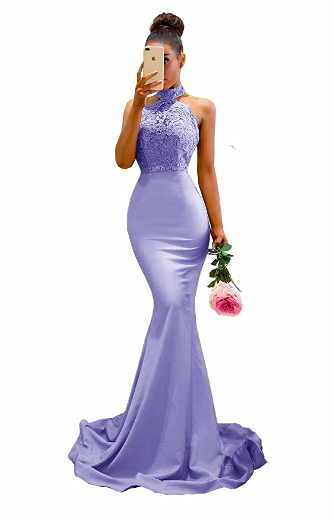 Lavender MariRobe Womens Halter Neck Mermaid Appliques Lace Long Bridesmaid Dress Formal