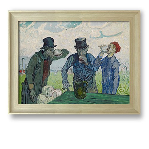 The Drinkers by Vincent Van Gogh Framed Art Print Famous Painting Wall Decor Natural Wood Finish Frame