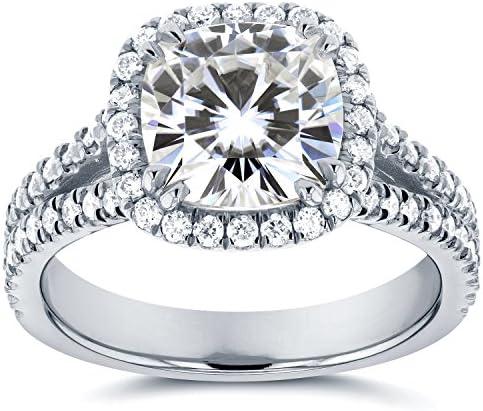 Kobelli Forever One (D-F) Moissanite and Halo Diamond Engagement Ring 2 1/2 CTW 14k White Gold