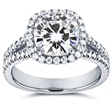 Forever One (D-F) Moissanite and Halo Diamond Engagement Ring 2 1/2 CTW in Platinum